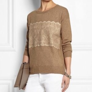 J CREW Needle Punch Lace Wool Blend Tan Size Small